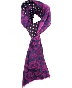 Deep Purple and Navy Floral Scarf