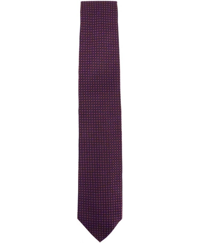 Hugo Boss Deep Purple and Red Micro Square Pattern Tie