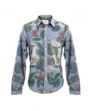 Scotch & Soda Denim Blue Printed 20306 Chambray Shirt