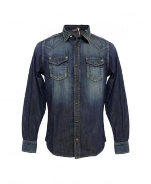 Diesel Denim Blue Snap Button Sonora Shirt