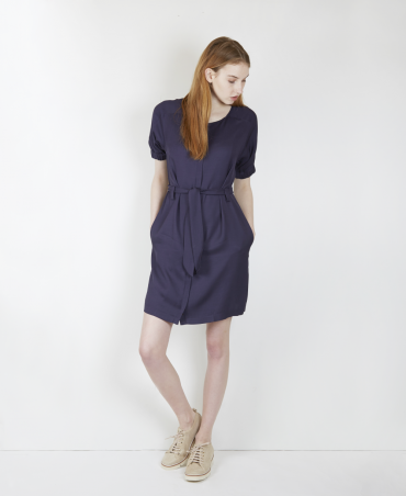 Dial Navy Belted Dress