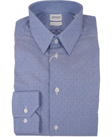 Armani Dobby Stripe Cotton Shirt In Blue