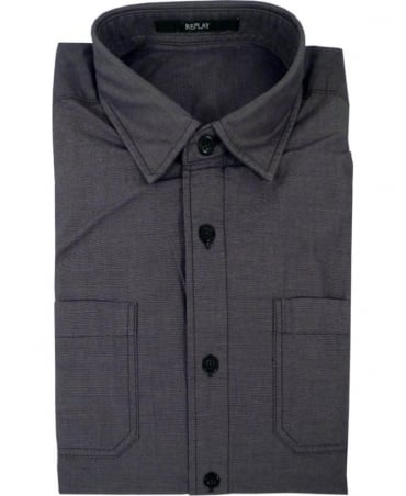 Double Chest Patch Pocket Shirt In Grey