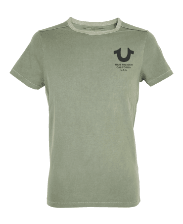 Dusty Green Crew Neck T-Shirt With Horseshoe Signature Print