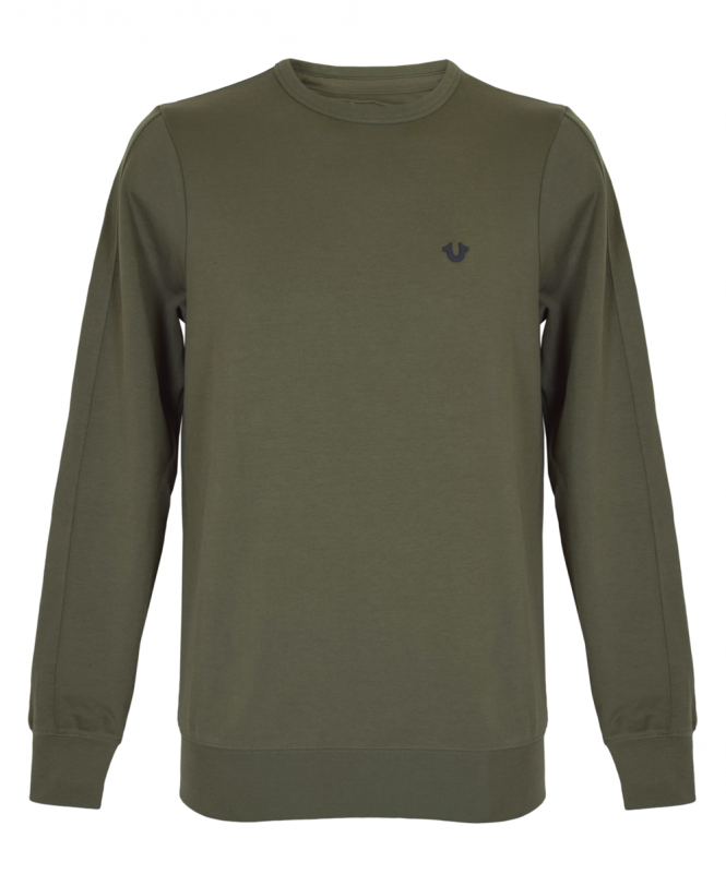 True Religion Dusty Olive Metal Horseshoe Sweatshirt