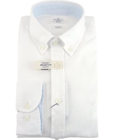 Hackett Dyed Oxford Brompton Slim Fit Shirt In Optic White