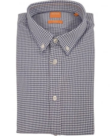 'EdipoE' Checked Slim Fit Shirt In Dark Blue