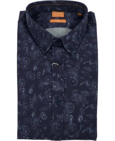 Hugo Boss 'EdipoE' Patterned Slim Fit Shirt In Dark Blue