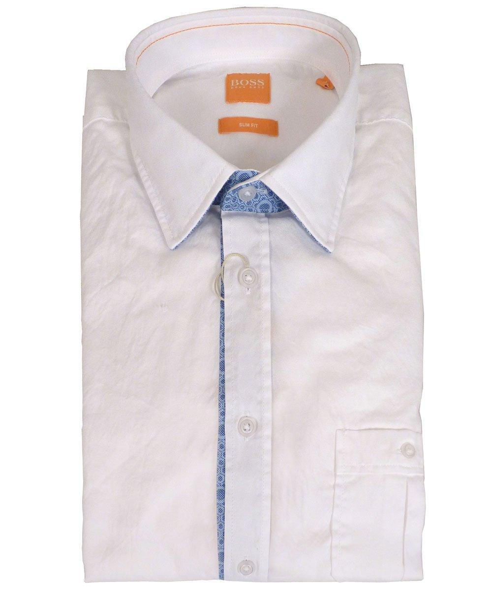 Hugo Boss 39 Eslime 39 Slim Fit Shirt In White Hugo Boss