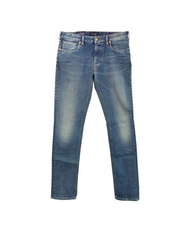Armani Faded Blue U6J83 J06 Fitted Fit Jeans