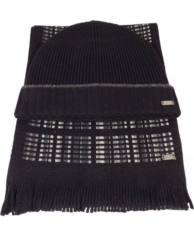 Hugo Boss 'Farios-Set' Hat And Scarf Gift Set In Black