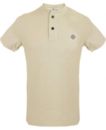 Stone Island 'Fissato' Dye Treatment Button Down T-shirt In Beige