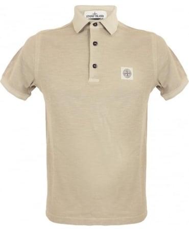 Stone Island 'Fissato' Dye Treatment Polo Shirt In Beige