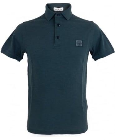 Stone Island 'Fissato' Dye Treatment Polo Shirt In Blue