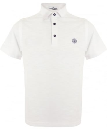 Stone Island 'Fissato' Dye Treatment Polo Shirt In White