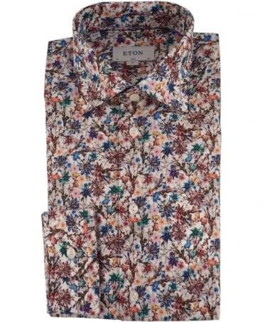 Eton Shirts Floral Print Poplin Shirt