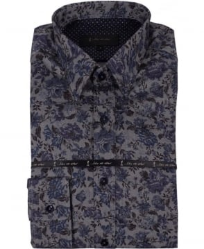 1 ...Like No Other Floral Shirt In Blue