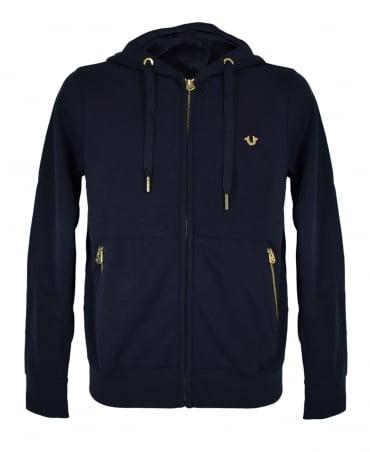 True Religion French Blue Hooded Zip Sweatshirt