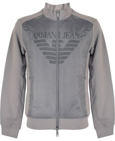Armani Jeans Full Zip Cotton Sweatshirt In Grey