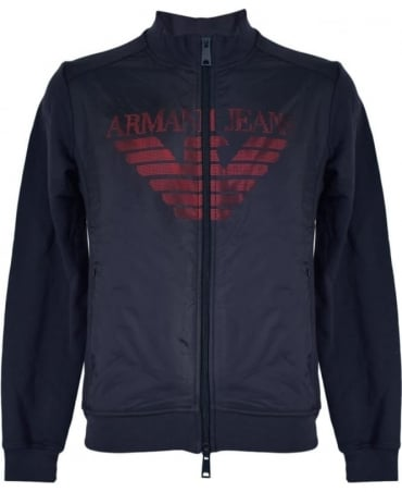 Armani Jeans Full Zip Cotton Sweatshirt In Navy