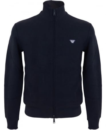 Armani Jeans Full Zip Textured Cotton Jersey Sweatshirt In Navy