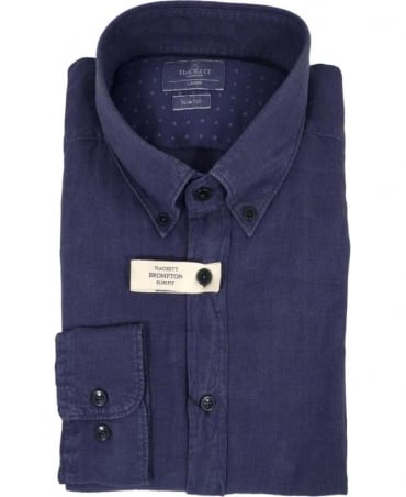 Hackett Garment Dyed Linen Button Down Shirt In Navy