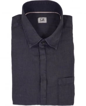 CP Company Garment Dyed Linen Short Sleeved Shirt In Black