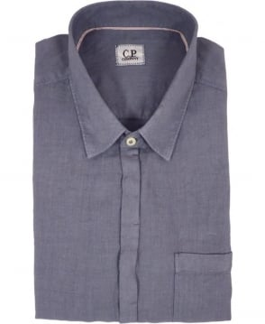 CP Company Garment Dyed Linen Short Sleeved shirt In Grey