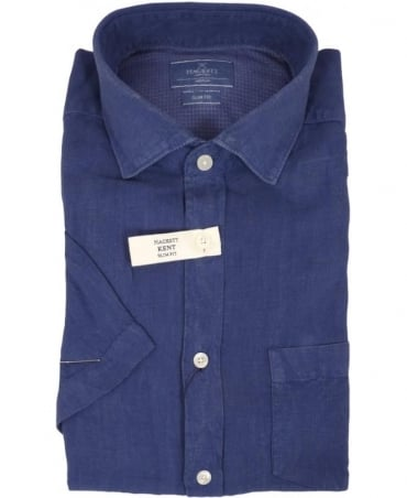Hackett Garment Dyed Linen Short Sleeved Shirt In Indigo