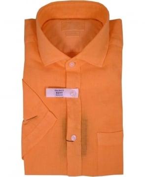 Hackett Garment Dyed Linen Short Sleeved Shirt In Orange