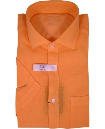 Hackett Garment Dyed Linen Short Sleeved Shirt In Orange