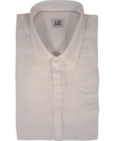 CP Company Garment Dyed Linen Short Sleeved Shirt In White