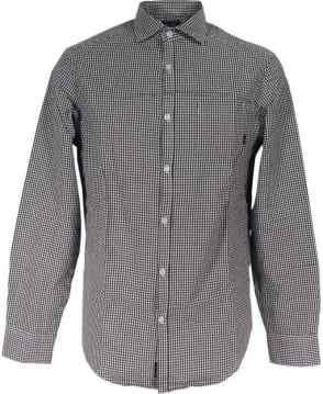 Armani Gingham Check Shirt In Black