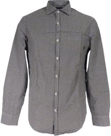 Armani Gingham Check Shirt In Black