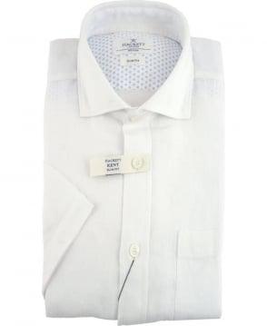 Hackett GMT Dyed Linen Short Sleeved Shirt In White