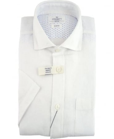 Hackett GMT Dyed Linen Short Sleeved Shirt In White