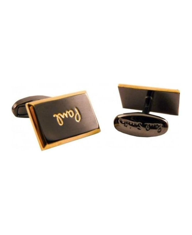 Paul Smith Gold Engraved Logo Cufflinks