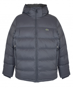 Lacoste Graphite BH7460 Water Resistant Hooded Short Puffy Down Jacket