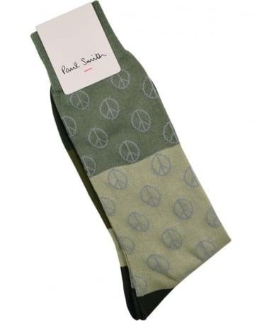 Paul Smith  Green ARXC-800E-K324 Gradient Peace Socks