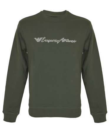 Green Crew Neck Sweatshirt With Logo