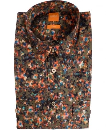 Hugo Boss Green Edaslime 50283108 Floral Print Shirt