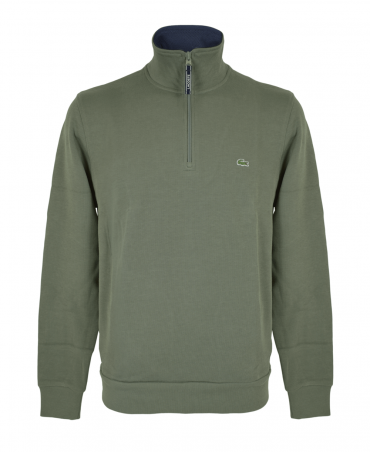 Green & Navy Zipped Stand Up Collar Sweatshirt