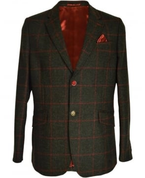 Holland Esq Green Shetland Windowpane Check Classic Jacket
