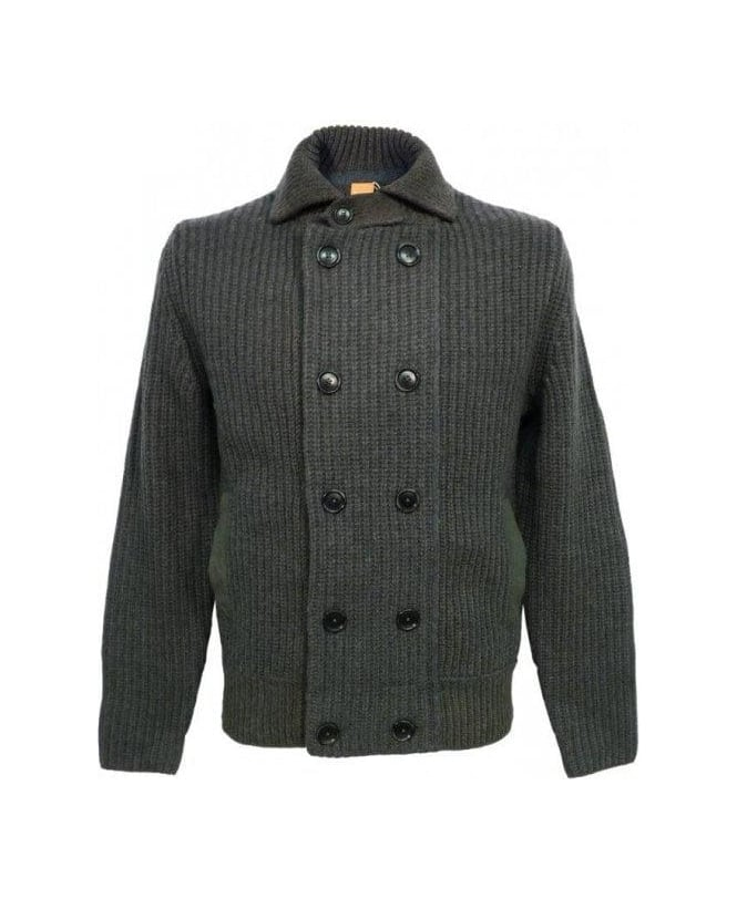 Hugo Boss Green Wool Blend Kalo Heavy Knit