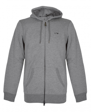 Armani Jeans Grey 8N6M01 Drawstring Hooded Sweatshirt