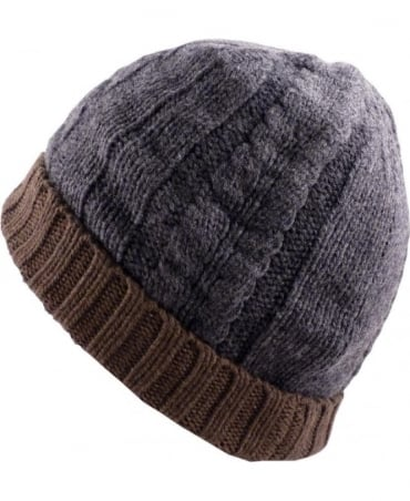 Paul Smith  Grey And Brown Cable Knit ANXA-650C-H264 Beanie Hat
