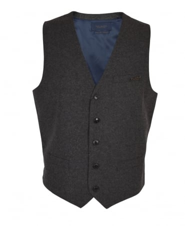 Scotch & Soda Grey And Navy Nepped Wool Waistcoat