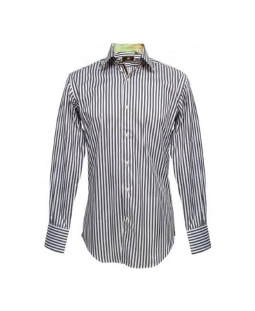 Grey And White Stripe Point Hill Shirt
