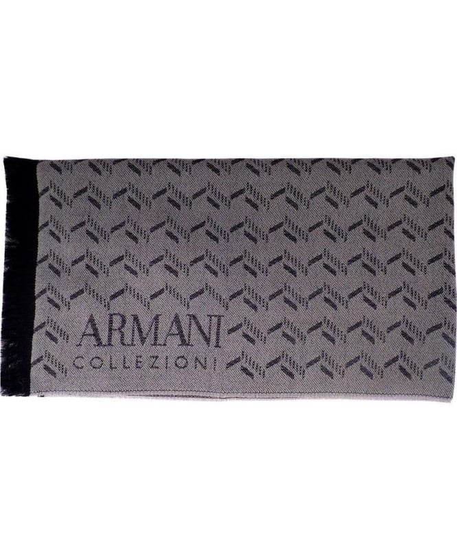 Armani Grey & Black Two-Tone Pattern Scarf