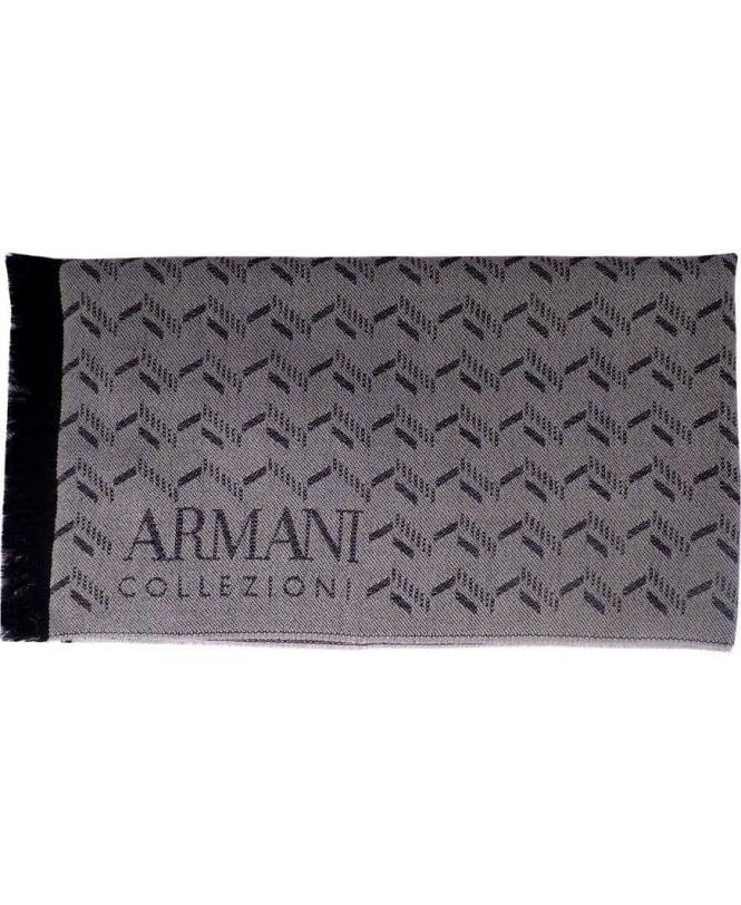 Armani Grey & Black Two-Tone Pattern Scarf